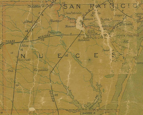 Nueces County TX 1907 postal map