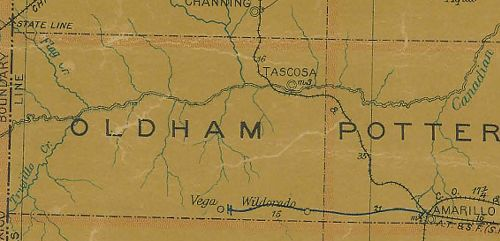 Oldham County Texas 1907 Postal map