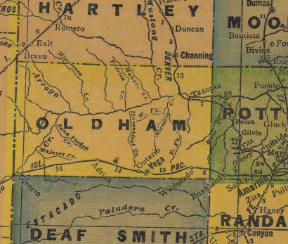 Oldham County Texas 1940s map