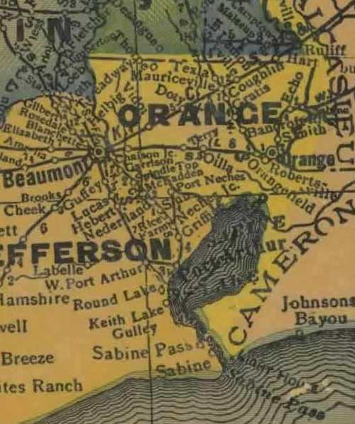 Orange County TX 1940s Map