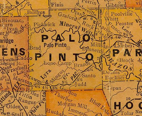 Palo Pinto County TX 1920s Map
