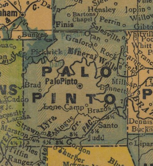 TX - Palo Pinto County Texas 1940s Map