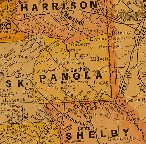 Panola County Texas 1920s map