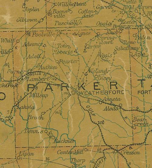 Parker County Texas 1907 map