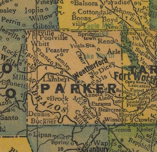 Parker County Texas 1940s map