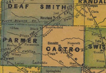 Parmer and Castro County Texas 1940s map