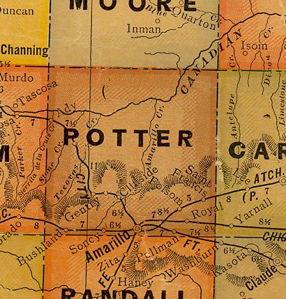 TX Potter County 1920s Map