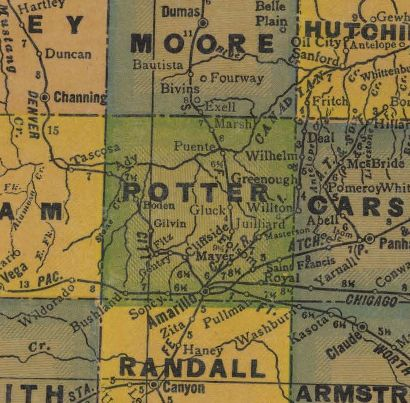 TX Potter County 1940s Map