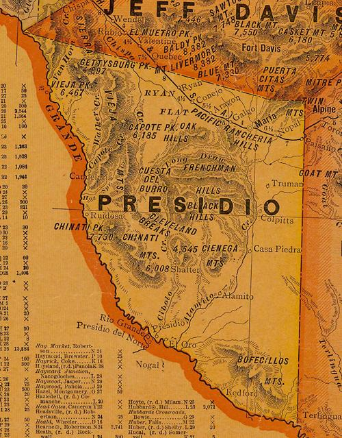 Presidio County TX 1920s map