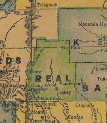 TX Real County 1940s Map