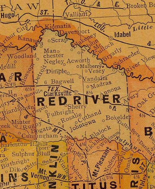 TX Red River  County 1920s Map