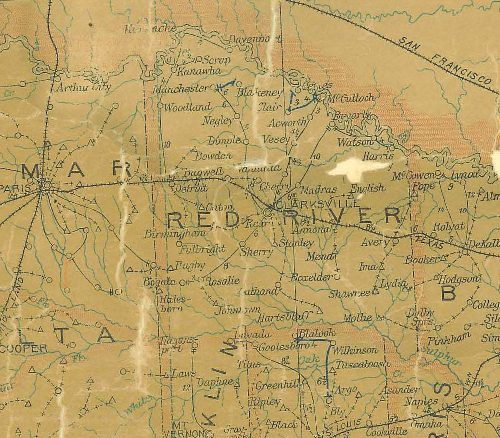 Red River County Texas 1907 Postal.