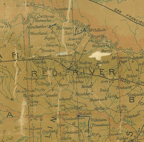 Red River County Texas 1907 postal map