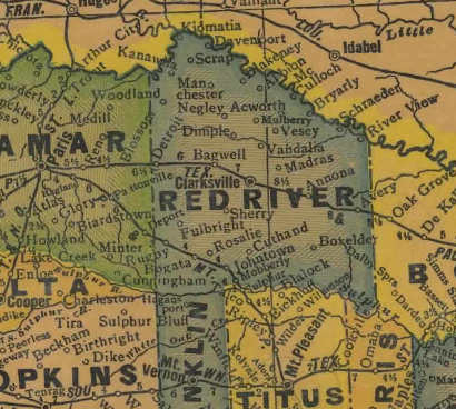 Red River County Texas 1940.s map