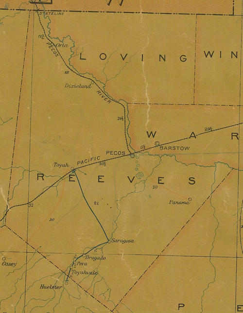 1907 Reeves County postal map