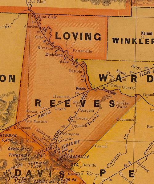 Reeves County TX 1920 Map