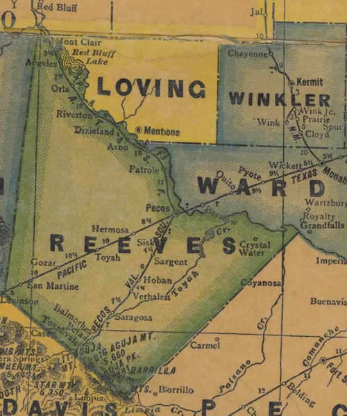Reeves County TX 1940s Map