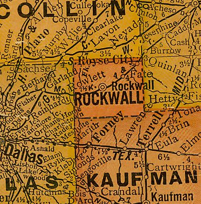 TX  Rockwall County 1920s Map