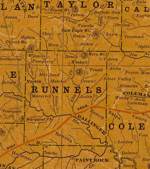Runnels County 1906 Texas Railroad Map