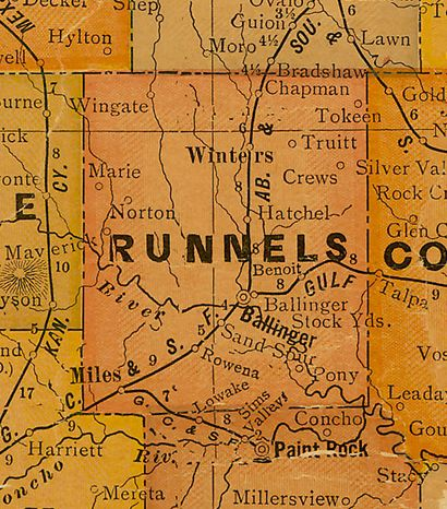 TX Runnels   County 1920s Map