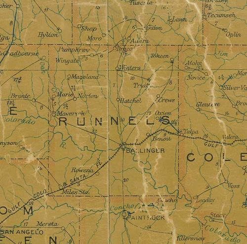TX  Runnels  County  1907 postal Map