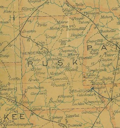 Texas - Rusk County 1907 Postal Map