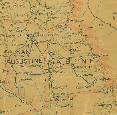 Texas Sabine County  1907 postal map