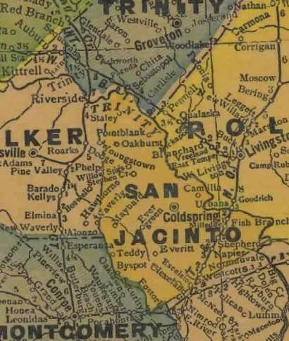 San Jacinto Texas 1940s map