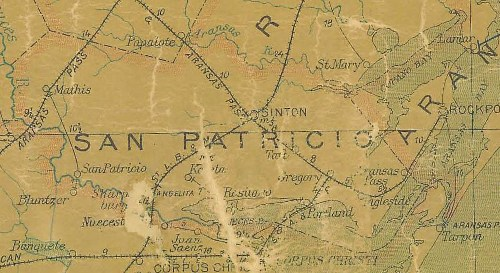 TX - San Patricio County 1907 Postal Map