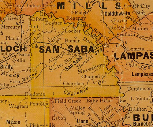 San Saba County TX map