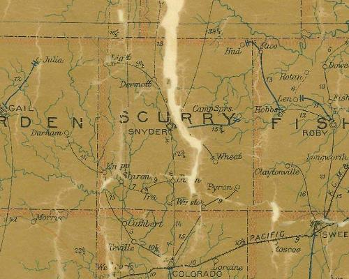 Scurry County Texas 1907 postal map