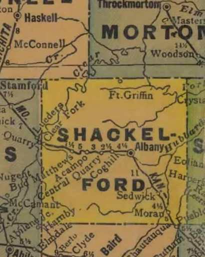 Shackelford County TX 1940s map