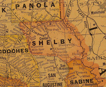 Shelby County Texa 1920s map