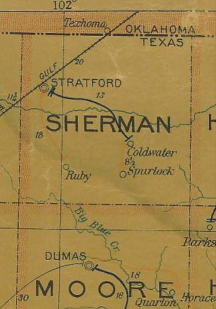 Sherman County Texas 1907 Postal map