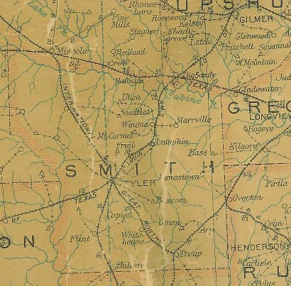 Smith County TX 1907 Postal Map