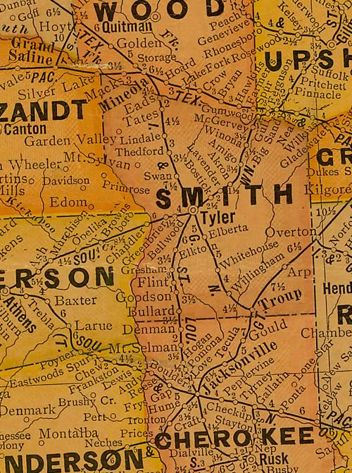 Smith County Texas 1920s map