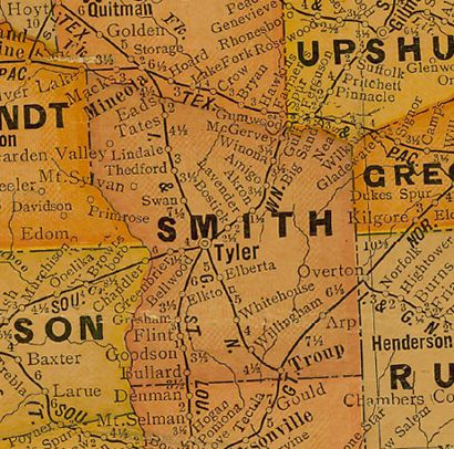 Smith County Texas1920s map