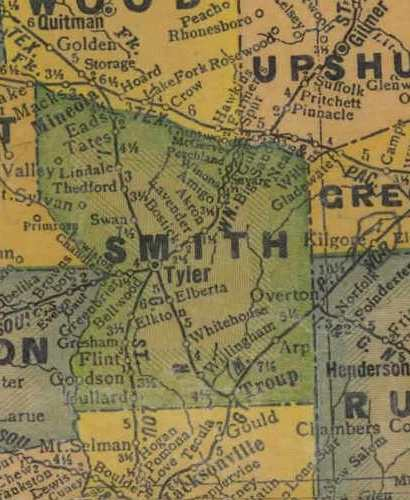Smith County Texas 1940s map