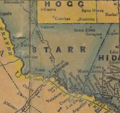1940s Starr County Texas map
