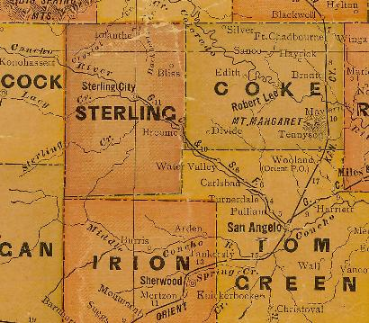 Sterling County & Coke County TX 1920s map