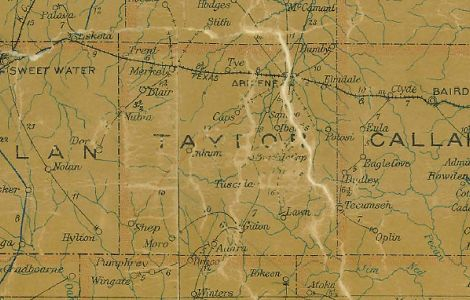 Taylor County Texas 1907 Postal map