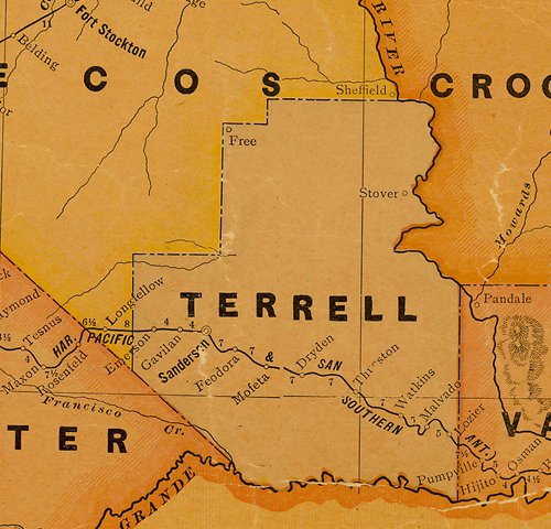 Terrell County TX 1920s Map.