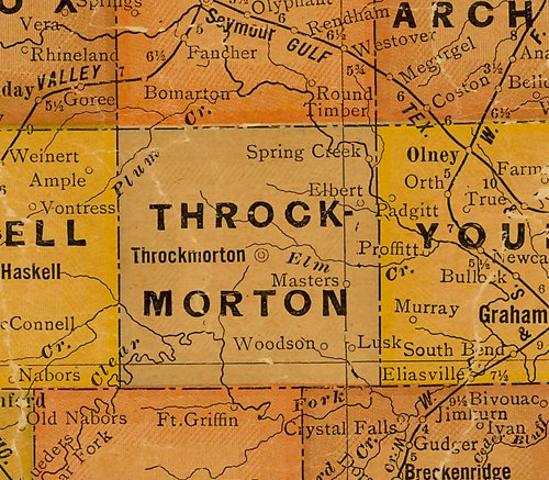 TX Throckmorton County 1920s Map