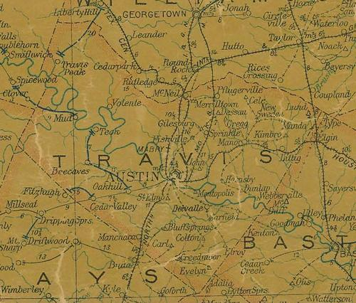 Travis County TX 1907 Postal Map