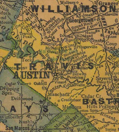 Travis County TX 1940s Map