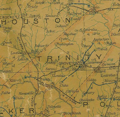 Trinity County Texas  1907 postal map