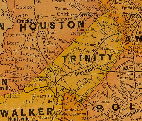Trinity County Texas 1920s map