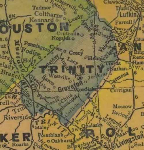 Trinity County Texas 1940s map