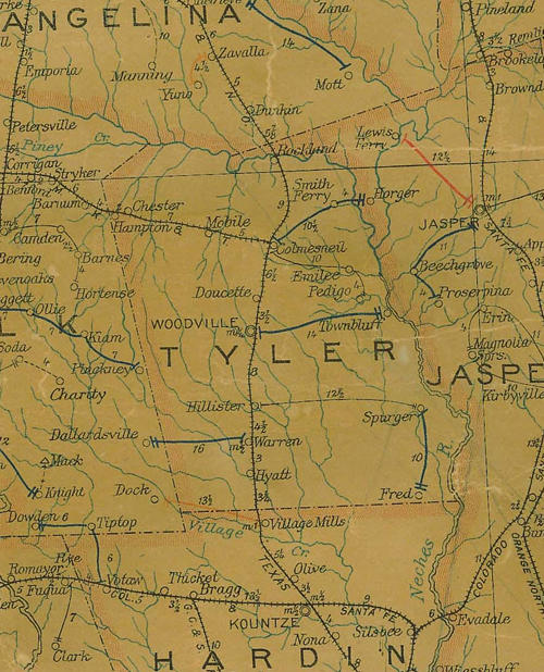 Tyler County TX 1907 Postal Map