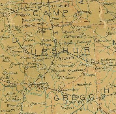 Upshur County TX 1907 Postal Map